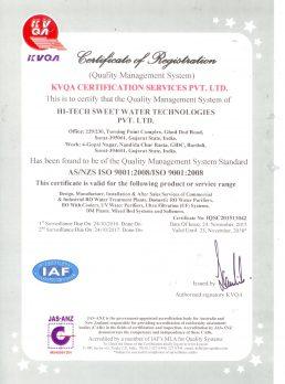 ISO 9001-2008 Valid upto 23-11-2018